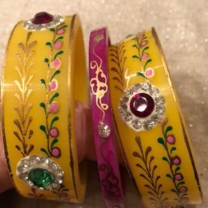🔴(Sale) Trio of painted/rhinestones bracelets